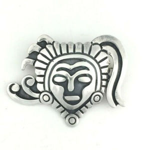 Aztec Head Sterling Taxco Brooch by Rivera